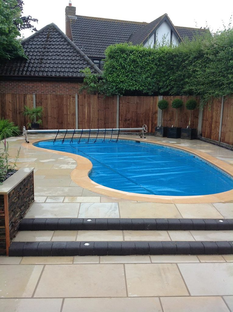 Sawn Sandstone Patio Swimming Pool Install