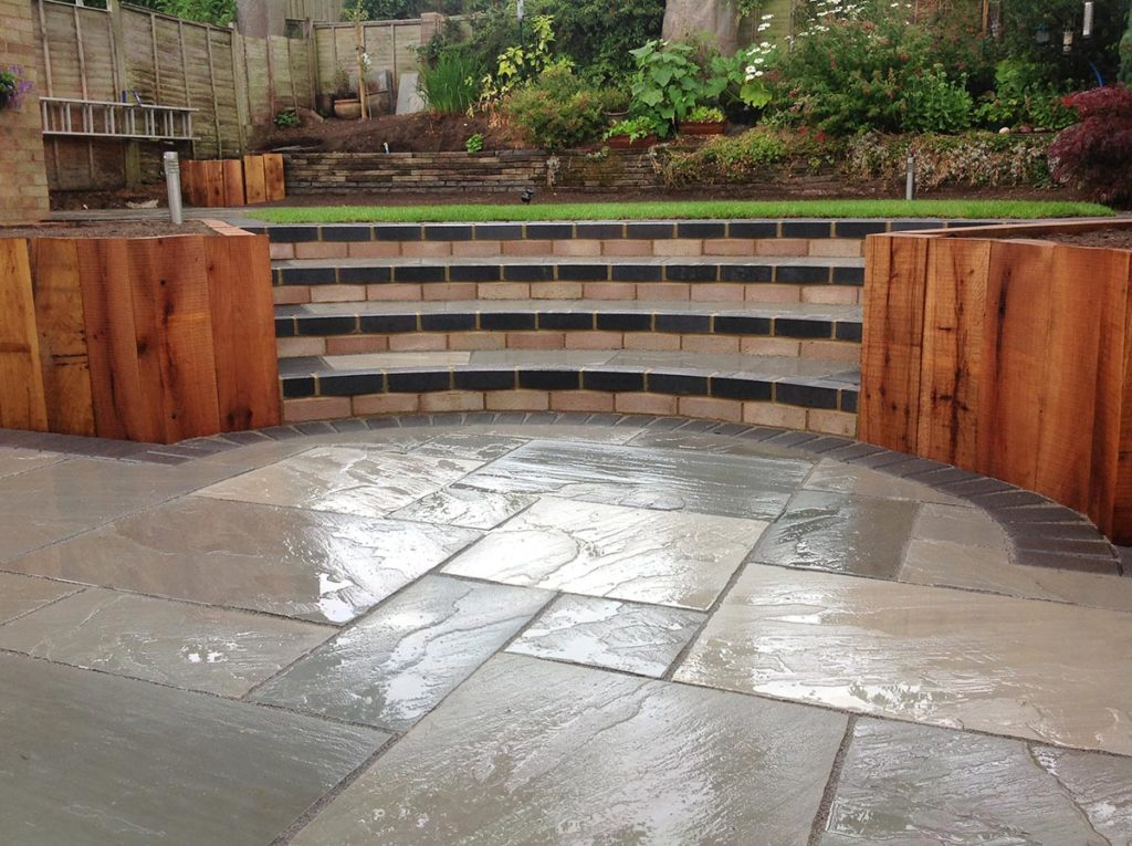 Grey Sandstone Patio Built by Paul Cass Landscapes