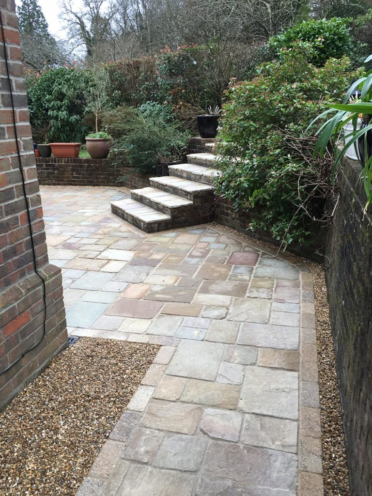 Riven Stone Patio Path and Steps built in Hampshire by Paul Cass Landscapes